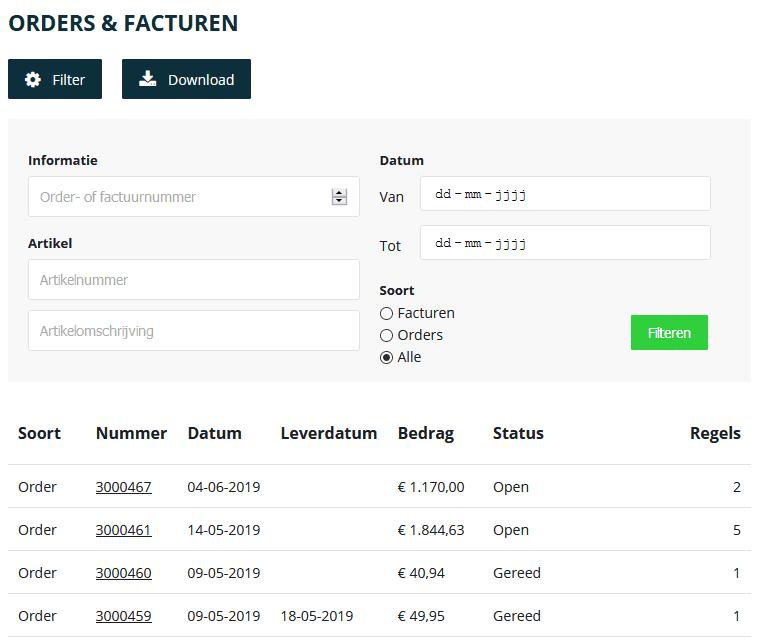 Logic4 Klantenportaal software - Orders inzien